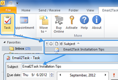 Screenshots of Email2Task